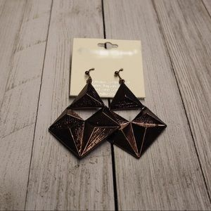 Abstract Copper Dangle Earrings